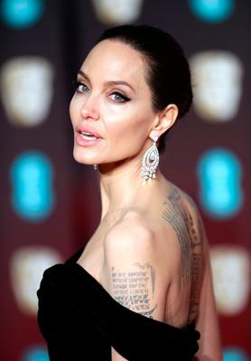 Angelina Jolie attending the EE British Academy Film Awards held at the Royal Albert Hall, Kensington Gore, Kensington, London.  PRESS ASSOCIATION Photo. Picture date: Sunday February 18, 2018. See PA Story SHOWBIZ Bafta. Photo credit should read: Yui Mok/PA Wire.