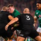 Tadhg Furlong in action against New Zealand