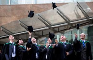 Hats off to the Graduates! Graduating from Ulster University today with a degree in Architectural Technology are from left Chris Chambers, Jonathan Moses, Ryon (correct spelling) Dunbar, Peter McMullan, Scott Johnston & Andrew Denton. Picture John Murphy Aurora Photographic Agency.