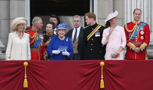 Camilla, Duchess of Cornwall, Prince Charles, Prince of Wales, Sir Timothy Laurence, Princess Anne, Princess Royal, Queen Elizabeth II, Prince Andrew, Duke of York, Prince Harry, Catherine, Duchess of Cambridge and Prince William, Duke of Cambridge stand on the balcony at Buckingham Palace during the annual Trooping the Colour Ceremony on June 15, 2013 in London, England. (Photo by Chris Jackson/Getty Images)