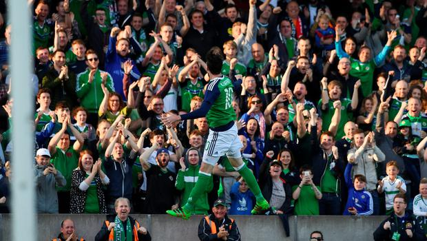 BELFAST, NORTHERN IRELAND - MAY 27: Kyle Lafferty of Northern Ireland celebrates after scoring during the international friendly game between Northern Ireland and Belarus on May 26, 2016 in Belfast, Northern Ireland. (Photo by Charles McQuillan/Getty Images)