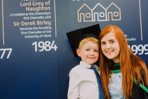 Pictured at the Ulster University Summer Graduations 2018 at Coleraine is Ciara McCloskey and son Tiarnan graduating in Psychology. Picture John Murphy Aurora PA.