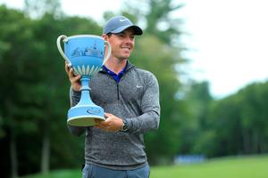 Rory McIlroy of Northern Ireland poses with the trophy during the final round of the Deutsche Bank Championship at TPC Boston on September 5, 2016 in Norton, Massachusetts.  (Photo by Maddie Meyer/Getty Images)