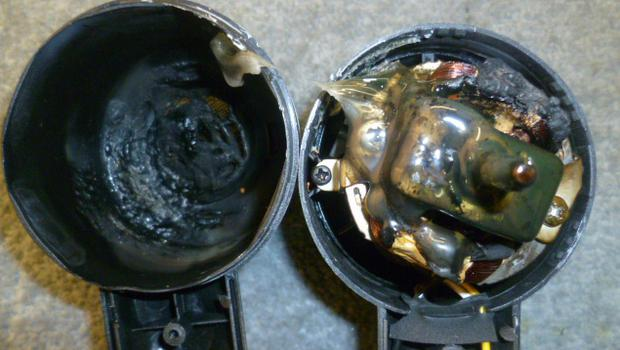 A hair-dryer bought from Wish shows the damage caused as a result of prevention of air flow, resulting in the product catching fire. (Electrical Safety First/PA)