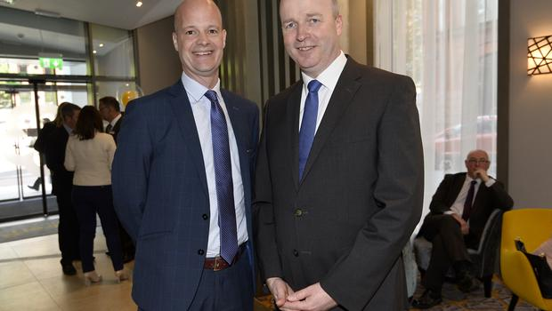 17th May 2018 Paul Mitchell and Conal Oneill pictured at the Grand opening of the new Maldron Hotel in Brunswick street in Belfast  Mandatory Credit: Presseye/Stephen Hamilton
