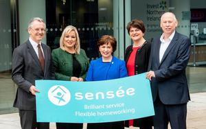 Kevin Holland of Invest NI with Michelle O'Neill, Arlene Foster and Rob Smale of Sensee.