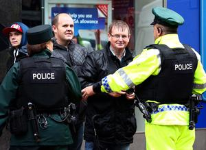Sunday 10th August 2014, Belfast, Northern Ireland - News -   Anti-Internment parade passes off in Belfast mainly peacefully with just some minor scuffles between police and protesters   Caption - William Frazer    Picture Credit : Kevin Scott