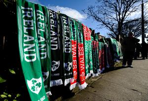 DUBLIN, IRELAND - FEBRUARY 08: Scarves on sale during RBS Six Nations match between Ireland and Wales at the Aviva Stadium on February 8, 2014 in Dublin, Ireland. (Photo by Alan Crowhurst/Getty Images)