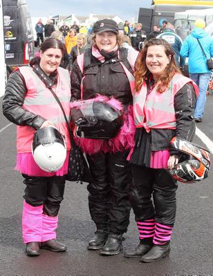 Northern Ireland- 16th May 2013 Mandatory Credit - Photo-Jonathan Porter/Presseye.  The Vauxhall International North West 200 - Second practice day.   Left to right.  Sarah Shand, Tracey Willowford and Lisa wright in the paddock.
