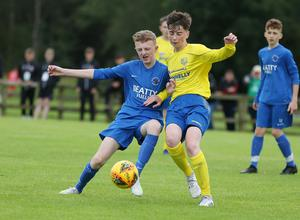 PressEye-Northern Ireland- 29th July  2019-Picture by Brian Little/PressEye Dungannon United  Adhamh Patton and Ballinamallard United James Taylor in the Minor section of the STATSports SuperCupNI , at University, Coleraine. Picture by Brian Little/PressEye
