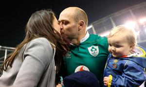 Ireland's captain Rory Best celebrates with his wife Jodie and son Ben after the Autumn International match at the Aviva Stadium, Dublin. PRESS ASSOCIATION Photo. Picture date: Saturday November 26, 2016. See PA story RUGBYU Ireland. Photo credit should read: Brian Lawless/PA Wire. RESTRICTIONS: Editorial use only, No commercial use without prior permission