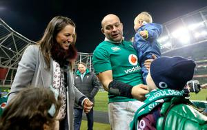 Ireland's captain Rory Best celebrates with his wife Jodie, sons Ritchie and Ben after the Autumn International match at the Aviva Stadium, Dublin. PRESS ASSOCIATION Photo. Picture date: Saturday November 26, 2016. See PA story RUGBYU Ireland. Photo credit should read: Brian Lawless/PA Wire. RESTRICTIONS: Editorial use only, No commercial use without prior permission