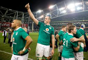 Ireland's Devin Toner celebrates with teammates after the Autumn International match at the Aviva Stadium, Dublin. PRESS ASSOCIATION Photo. Picture date: Saturday November 26, 2016. See PA story RUGBYU Ireland. Photo credit should read: Brian Lawless/PA Wire. RESTRICTIONS: Editorial use only, No commercial use without prior permission