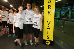 Press Eye - Belfast -  Northern Ireland - 24th June 2015 -  Rebecca Kincade, Chris Brown and Caroline McNeil at the first ever Grant Thornton Runway Run at Belfast City Airport this evening. Picture by Kelvin Boyes / Press Eye.