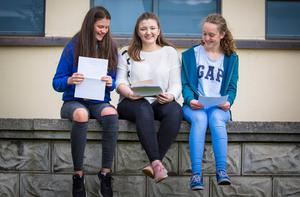 Niamh Magee ,Molly Deazley and Cathrine Dempsey from Dominican College Fortwilliam as she receives GCSE results on August 24th 2017 (Photo by Kevin Scott / Belfast Telegraph)