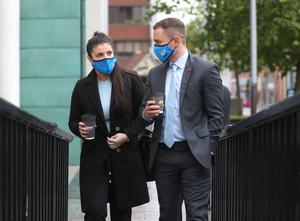 Former world champion boxer Carl Frampton arrives at Belfast High court this morning with wife Christine. Photo Stephen Davison/Pacemaker Press