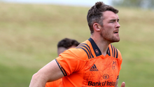 Knees up: Peter O'Mahony in Munster training yesterday afternoon