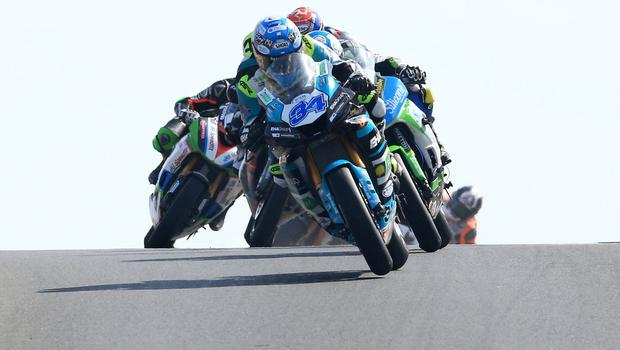 Pacemaker Belfast 12-5-18 Vauxhall International North West 200 -  supersport race Alastair Seeley (EHA Yamaha) leads the pack in the first lap at Black Hill during today's  supersport race at the Vauxhall International North West 200 in Portrush.  Photo by David Maginnis/Pacemaker Press