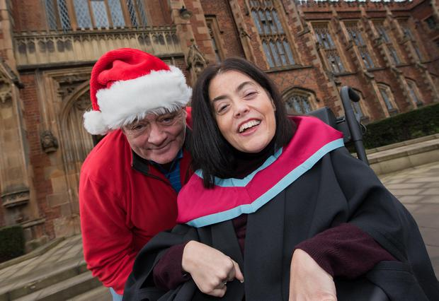 Joanne Sansome from Belfast graduates with a Masters in Social Research from Queen's. She first visited the University a decade ago when she spoke to social work students about her experience of living with Cerebral Palsy since birth. She is joined by her father Dermot.