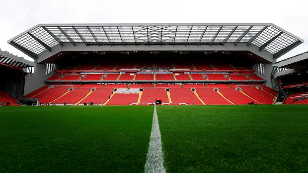 Liverpool Football Club's new main stand is pictured from accross the pitch, during a media tour at Anfield stadium in Liverpool, north-west England, on September 9, 2016.  / AFP PHOTO / PAUL ELLISPAUL ELLIS/AFP/Getty Images