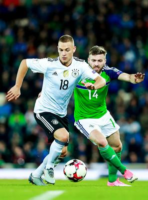 Northern Ireland's Stuart Dallas and Germany's Joshua Kimmich in action during the World Cup Qualifier at Windsor Park in Belfast on October 4th 2017 (Photo by Kevin Scott / Belfast Telegraph)