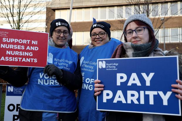 Nurses this morning at Belfast City Hospital as the RCN take strike action today. Photo Laura Davison/Pacemaker Press