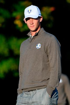 CHASKA, MN - OCTOBER 01: Thomas Pieters of Europe looks on from the second green during morning foursome matches of the 2016 Ryder Cup at Hazeltine National Golf Club on October 1, 2016 in Chaska, Minnesota.  (Photo by Ross Kinnaird/Getty Images)