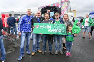 Press Eye - Northern Ireland - 16th June 2016  Fans gather in the Northern Ireland fan zone in association with Vauxhall at Titanic slipways, as Northern Ireland meet Ukraine in the Euros on June 16th.  Pictured: Fans who won a spot prize of VIP upgrade are, Terry, Ethan, Rose, and Margaret Hoogelander, Norman Justin, and Paul Wilson.   Picture: Philip Magowan / PressEye