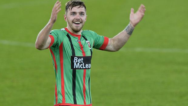 PACEMAKER BELFAST  09/05/2018 Linfield v Glentoran  Europa league play off semi final GlentoranÕs Robbie McDaid   celebrates after this evenings game at Windsor park. Photo Colm Lenaghan/Pacemaker Press