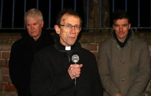 Press Eye  - Crumlin Vigil -  30th Jan 2018 Photograph by Declan Roughan  John Rutter speaking at the vigil with (L-R) Colm McBride and Andrew Masters.  A massive crowd gathered at Crumlin Leisure Centre for a vigil in honour of Robert Flowerday who was found dead at his home in Crumlin, County Antrim. People then walked from the Leisure Centre to his home.  The body of Robert Flowerday, who was 64, was found in his house on Mill Road on Sunday evening.