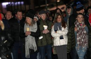 Press Eye  - Crumlin Vigil -  30th Jan 2018 Photograph by Declan Roughan  A massive crowd gathered at Crumlin Leisure Centre for a vigil in honour of Robert Flowerday who was found dead at his home in Crumlin, County Antrim. People then walked from the Leisure Centre to his home.  The body of Robert Flowerday, who was 64, was found in his house on Mill Road on Sunday evening.