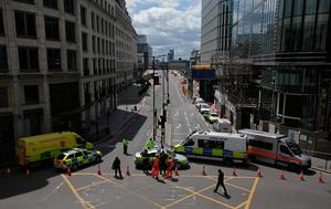 Police vehicles block the acccess to London Bridge in London on June 4, 2017, as police continue their investigations following the June 3 terror attack. Seven people were killed in a terror attack on Saturday by three assailants on London Bridge and in the bustling Borough Market nightlife district, the chief of London's police force said on Sunday. / AFP PHOTO / Daniel LEAL-OLIVASDANIEL LEAL-OLIVAS/AFP/Getty Images