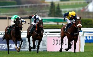 CHELTENHAM, ENGLAND - MARCH 12:  Darna ridden by David Bass wins the Brown Advisory & Merriebelle Stable Plate during St Patrick's Thursday at the Cheltenham Festival at Cheltenham Racecourse on March 12, 2015 in Cheltenham, England.  (Photo by Alex Livesey/Getty Images)