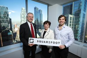 Economy Minister Diane Dodds in New York with Invest NI CEO Kevin Holland, left, and CEO of SquareFoot Jonathan Wasserstrum. Credit: Kelvin Boyes/Press Eye