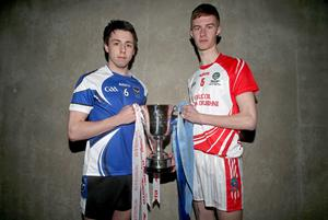 Peter Hagan of St Patrick's College, Maghera and PJ Hand of Pobalscoil Chorca Dhuibhne, Dingle with the Hogan Cup