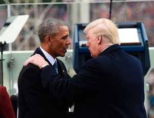 US President Barack Obama shake hands with President-elect Donald Trump during the Presidential Inauguration at the US Capitol in Washington, DC, on January 20, 2017. / AFP PHOTO / POOL / SAUL LOEBSAUL LOEB/AFP/Getty Images