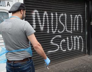 Police are investigating after a takeaway restaurant in east Belfast was daubed with anti-Islamic graffiti. The Turkish Kebab House takeaway on the Beersbridge Road was targeted on Thursday. They are treating the incident as a racially-motivated hate crime. Photo Pacemaker Press