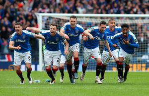 GLASGOW, SCOTLAND - APRIL 17:  Rangers players celebrates after winning the penalty shoot out during the Scottish Cup Semi Final between Rangers and Celtic at Hampden Park on April 17, 2016 in Glasgow, Scotland. (Photo by Ian MacNicol/Getty Images)