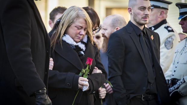 Vera and Ryan Ogle as The funeral of Ian Ogle takes place in east Belfast on February 4th 2019 (Photo by Kevin Scott for Belfast Telegraph)