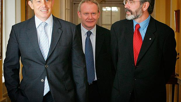File photo dated 04/08/05 of Prime Minister Tony Blair (left) meeting Sinn Fein leader Gerry Adams (right) and chief negotiator Martin McGuinness in 10 Downing Street.  Richard Pohle/PA Wire