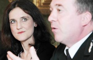 Secretary of State for Northern Ireland Theresa Villiers and PSNI Chief Constable Matt Baggott pictured at the press conference