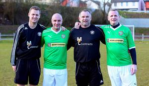Ciaran Caldwell, Gerard Lyttle, Glen Ferguson and Patrick McAllister before the charity match for Sport and Leisure Swifts. Kevin Scott / Cliftonville FC.