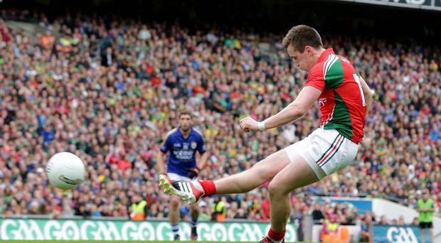 Get in: Mayo's Cillian O'Connor scores a penalty