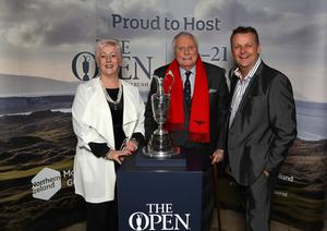 Press Eye - Belfast -  Northern Ireland - 31st January 2019 - Photo by William Cherry/Presseye  Guests had the opportunity to get their picture taken with the Claret Jug as Tourism NI marked the start of the official build up to The 148th Open at Royal Portrush with a celebration of Northern Irish talent from sport, music, arts and screen at Titanic Belfast. Pictured are Angelina Fusco, Peter Alliss and Terry McCartney. Visit https://youtu.be/KPPKRrsR-js to watch the cinematic film ÔWeÕve come a long wayÕ which was premiered on the night.   Photo by William Cherry / Press Eye.