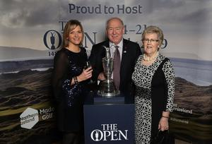 Press Eye - Belfast -  Northern Ireland - 31st January 2019 - Photo by William Cherry/Presseye  Guests had the opportunity to get their picture taken with the Claret Jug as Tourism NI marked the start of the official build up to The 148th Open at Royal Portrush with a celebration of Northern Irish talent from sport, music, arts and screen at Titanic Belfast. Pictured are Wendy Gallagher, Steven Chambers and Jean Haworth. Visit https://youtu.be/KPPKRrsR-js to watch the cinematic film ÔWeÕve come a long wayÕ which was premiered on the night.   Photo by William Cherry / Press Eye.
