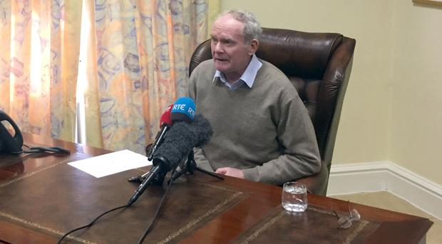 Martin McGuinness announces his resignation at his office in Stormont Castle (Picture:Sinn Fein/PA Wire)