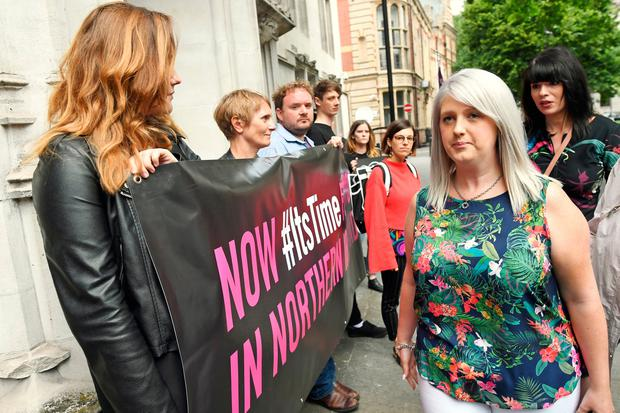 Grainne Teggart (right) and Sarah Ewart (second right) arrive at the Supreme Court, Westminster where UK's highest court is to rule on Northern Ireland abortion law challenge. PRESS ASSOCIATION Photo. Picture date: Thursday June 7, 2018. See PA story COURTS Abortion. Photo credit should read: Stefan Rousseau/PA Wire
