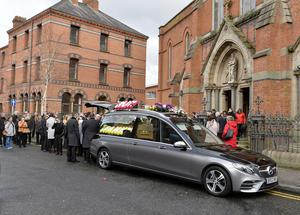 Press Eye - Belfast - Northern Ireland -     Saturday14th  March 2020   Family and friends pictured at St Paul's Church, Falls Road for the funeral of Joan McKee mother of the late Lyra McKee. Photo by Stephen Hamilton / Press Eye
