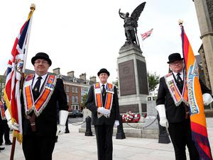 PACEMAKER PRESS BELFAST  13/7/2020 Twelfth of July celebrations in Portadown today. People were encouraged to celebrate the Twelfth from home due to coronavirus. The Orange Order were not parading today, however, a small number of local lodges took part in a Remembrance Service at Portadown Cenotaph.  Pictured: Portadown Ex-ServicemenÕs LOL 608. Photo Pacemaker Press