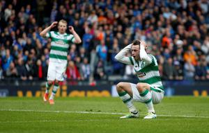 Celtic's Patrick Roberts reacts after a missed shot during the William Hill Scottish Cup semi-final match at Hampden Park, Glasgow. PRESS ASSOCIATION Photo. Picture date: Sunday April 17, 2016. See PA story SOCCER Rangers. Photo credit should read: Danny Lawson/PA Wire. EDITORIAL USE ONLY